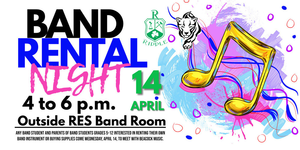 Band Rental Night is Wednesday, April 14 from 4 to 6 p.m. at RES
